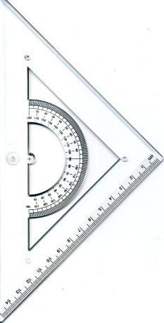 Триъгълник 45 градуса/ 150 мм, прозрачен, с транспотир